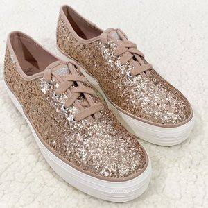 New Keds Glitter Sneakers Champagne Size 8